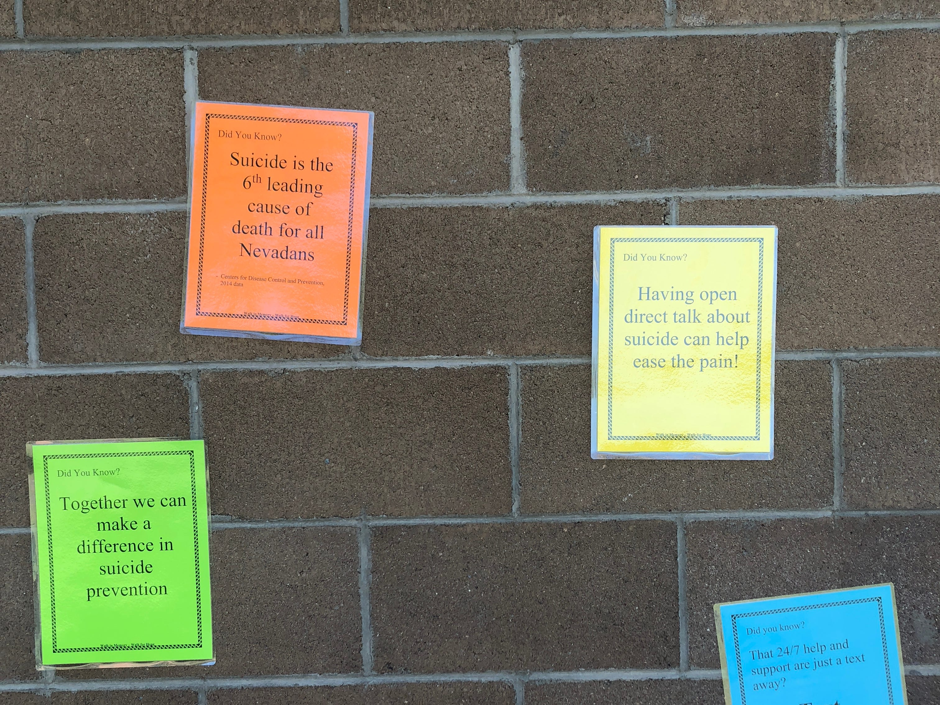 Facts about suicide and prevention are posted at the Mesquite Recreation Center on Saturday, Sept. 15, 2018.