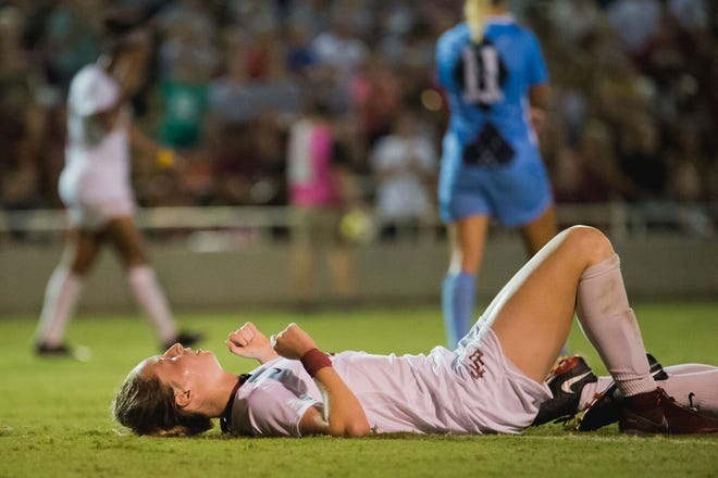 Midfielder Gabby Carle and the Seminoles were held without a shot on goal against UNC Friday night.