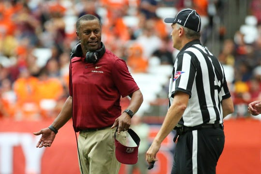 Sep 15, 2018; Syracuse, NY, USA; Florida State Seminoles head coach Willie Taggart reacts to a call against the Syracuse Orange during the second quarter at the Carrier Dome. Mandatory Credit: Rich Barnes-USA TODAY Sports
