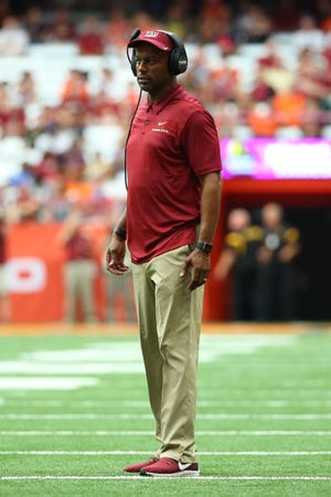 Sep 15, 2018; Syracuse, NY, USA; Florida State Seminoles head coach Willie Taggart looks on against the Syracuse Orange during the third quarter at the Carrier Dome. Mandatory Credit: Rich Barnes-USA TODAY Sports
