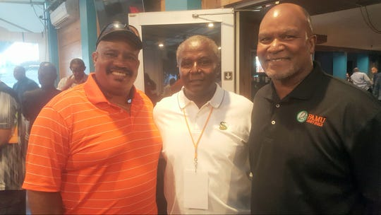 The quarterback club. Field generals on the 1978 national championship team from left to right Rickey Pope, Robert James and Albert Chester (starter).