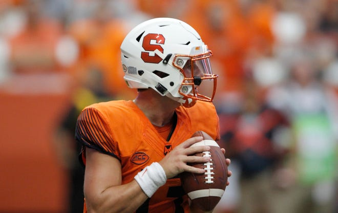 Syracuse's Tommy DeVito passes in the fourth quarter of an NCAA college football game against Florida State in Syracuse, N.Y., Saturday, Sept. 15, 2018. (AP Photo/Nick Lisi)