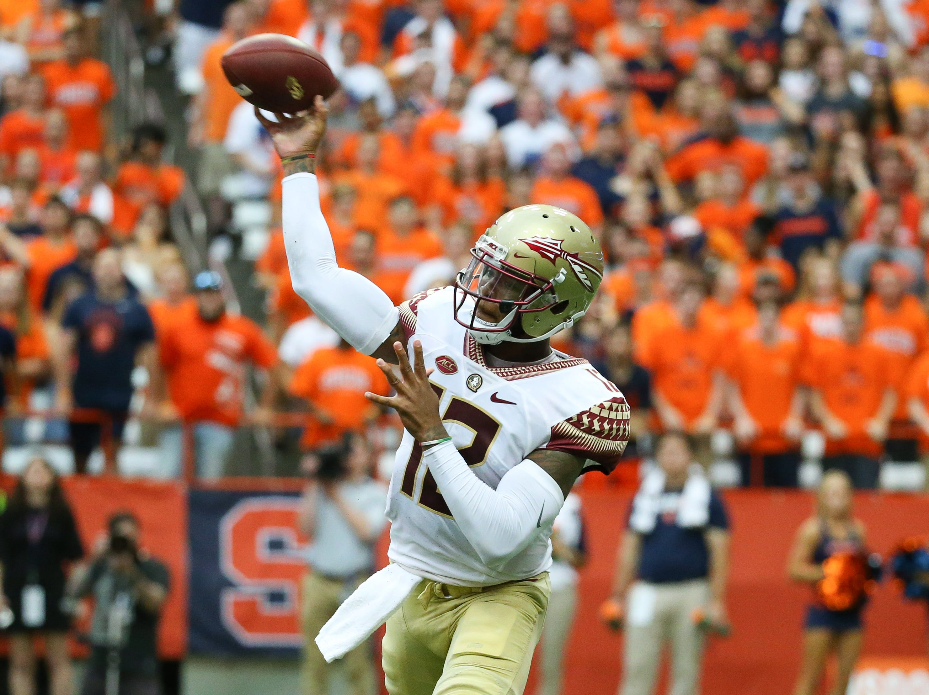 Sep 15, 2018; Syracuse, NY, USA; Florida State Seminoles quarterback Deondre Francois (12) passes the ball against the Syracuse Orange during the first quarter at the Carrier Dome. Mandatory Credit: Rich Barnes-USA TODAY Sports