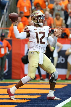 Sep 15, 2018; Syracuse, NY, USA; Florida State Seminoles quarterback Deondre Francois (12) passes the ball against the Syracuse Orange during the second quarter at the Carrier Dome. Mandatory Credit: Rich Barnes-USA TODAY Sports
