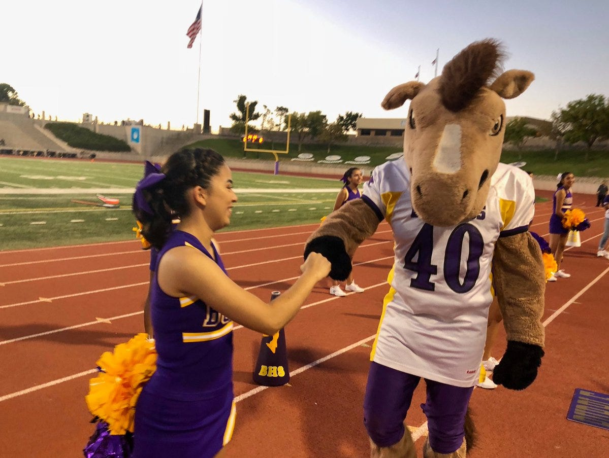 Fist bump for the Mustangs