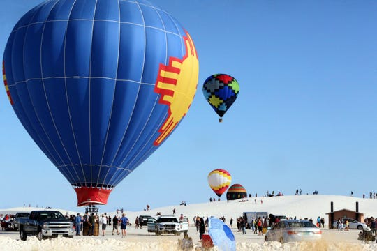 Hot air balloons at the White Sands Balloon Invitational at White Sands National Monument Saturday. Another balloon launch will happen Sunday morning at Ed Brabson Balloon Park on Lavelle Road in Alamogordo. Balloons are scheduled to launch starting at 7 a.m.