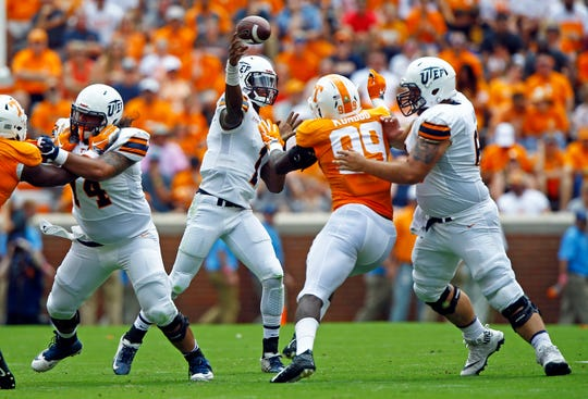 UTEP quarterback Kai Locksley (1) throws a pass in the first half of an NCAA college football game against Tennessee, Saturday, Sept. 15, 2018, in Knoxville, Tenn.
