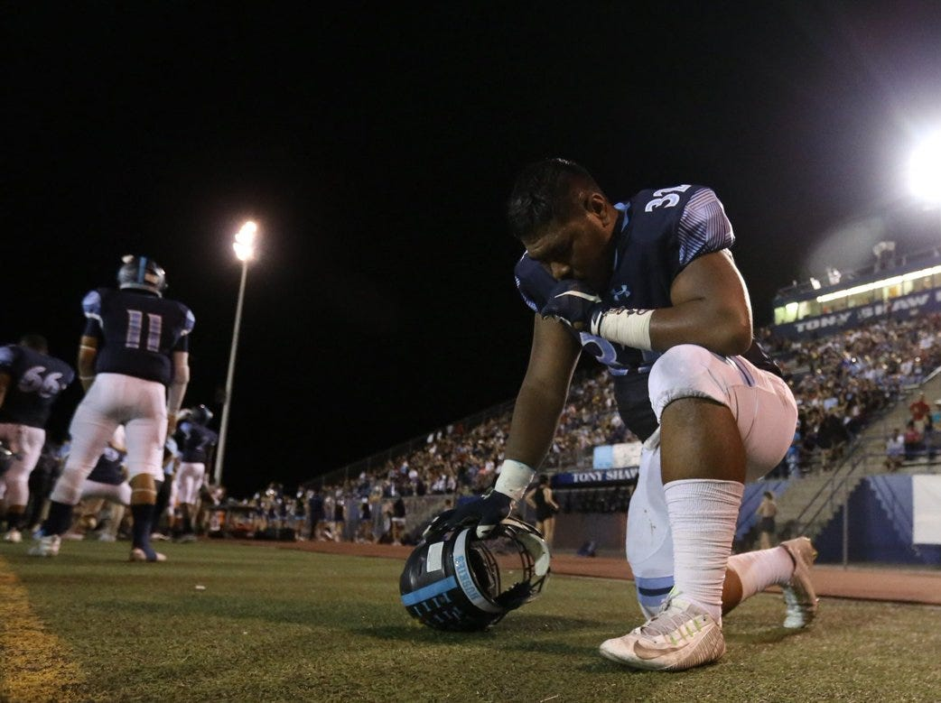 It's now 27-14 @PebbleHHS_FB leads @ChapinFootball. Chapin praying for a comeback.