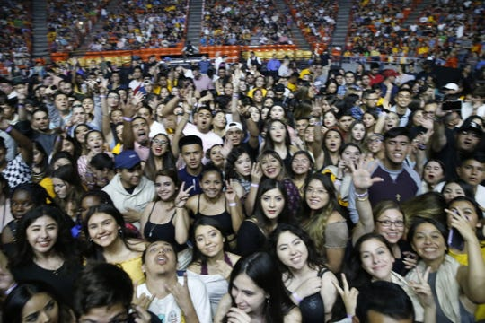 The crowd on the floor of the Don Haskins Center cheers as they wait for Khalid to take the stage.