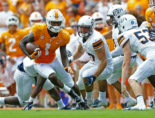 Tennessee wide receiver Marquez Callaway (1) runs for yardage in the first half of an NCAA college football game against UTEP on Saturday, Sept. 15, 2018, in Knoxville, Tenn.