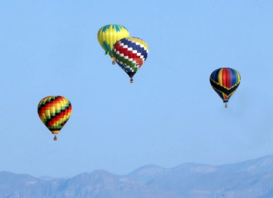 Balloons aloft at the White Sands Balloon Invitational Saturday.