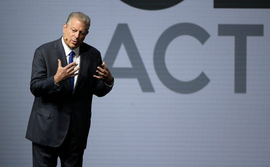 Former Vice President Al Gore addresses the Global Action Climate Summit on Friday in San Francisco. California Gov. Jerry Brown's international climate summit wrapped up Friday with a call to action on reducing greenhouse gas emissions, increasing renewable energy and other Earth-friendly initiatives ahead of the next United Nations climate meeting in 2020.