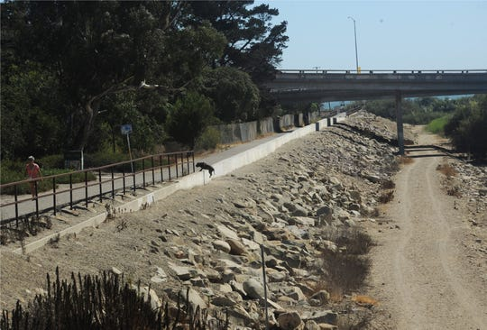 The VR-1 levee system, as seen from the bridge on Main Street in Ventura, extends inland 2.65 miles from the ocean.