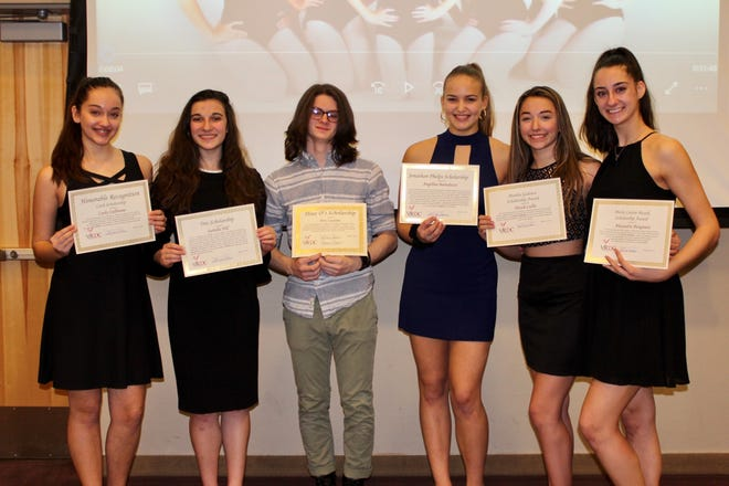 (From left) Carly Cullinane, Isabella Hill, Trey Luciano, Angelina Bartolozzi, Nicole Cullis and Alexandra Bisignaro, members of the Vineland Regional Dance Company, were awarded scholarships for the 2017-2018 year by the VRDC's Board of Directors.