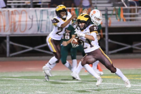 Porterville hosts a non-league high school football game with Golden West at Jacob Rankin Stadium on Sept 14th, 2018.