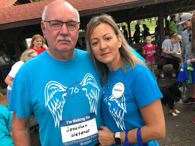 Steve and Angela Wesener participated in the Out of the Darkness suicide prevention walk in honor of their son, Jonathan.