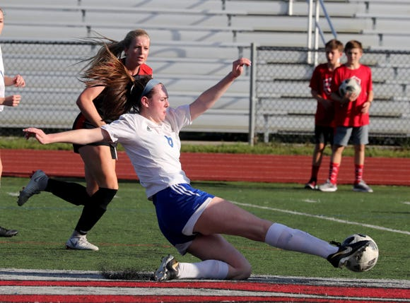 Sara Donovan of Pearl River breaks up a play during a varsity soccer game at Rye High School Sept. 15, 2018.