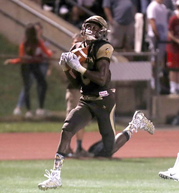Clarkstown South's RJ Lamarre catches a touchdown pass during a game with Nyack at Clarkstown South Sept. 14, 2018.