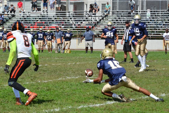 Yonkers force cornerback Colby Frias comes up with an interception to end a White Plains drive four yards short of the end zone in the first quarter on Saturday at Gorton High School.
