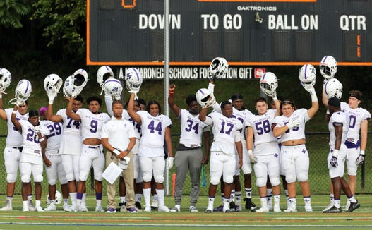New Rochelle before the start of their football game against Mamaroneck at Mamaroneck High School Sept. 14, 2018. New Rochelle won, 48-7.
