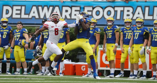 Delaware receiver Joe Walker pulls in a long pass in front of Cornell's DJ Woullard in the second quarter at Delaware Stadium Saturday.