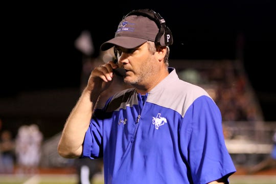 City View head football coach Rudy Hawkins will be donning a head set on the sidelines for the first time in weeks Friday after high blood pressure hospitalized him Sept. 20. His Mustangs host Holliday in a vital district contest.