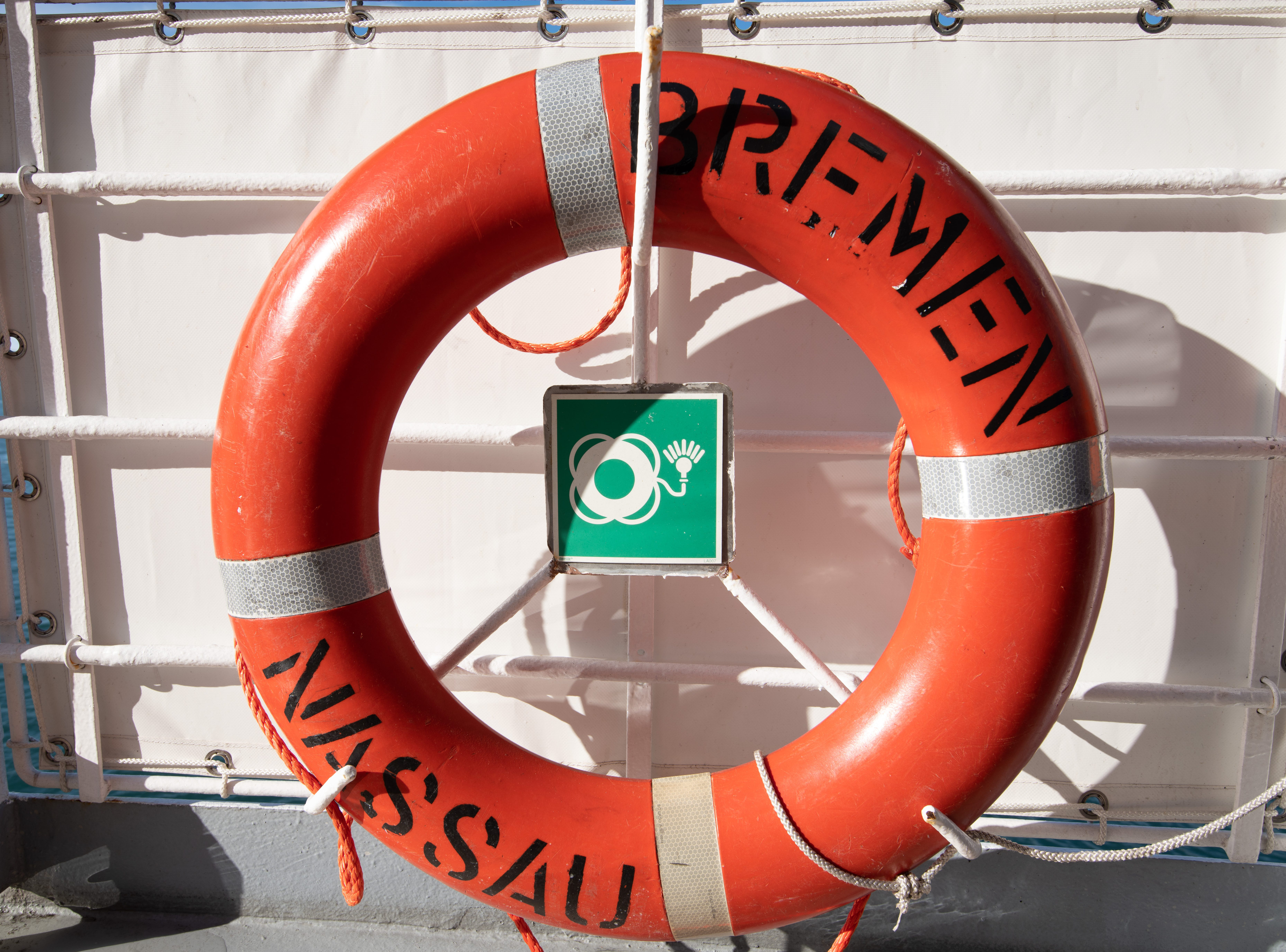 A life buoy along one of Bremen's outer decks.