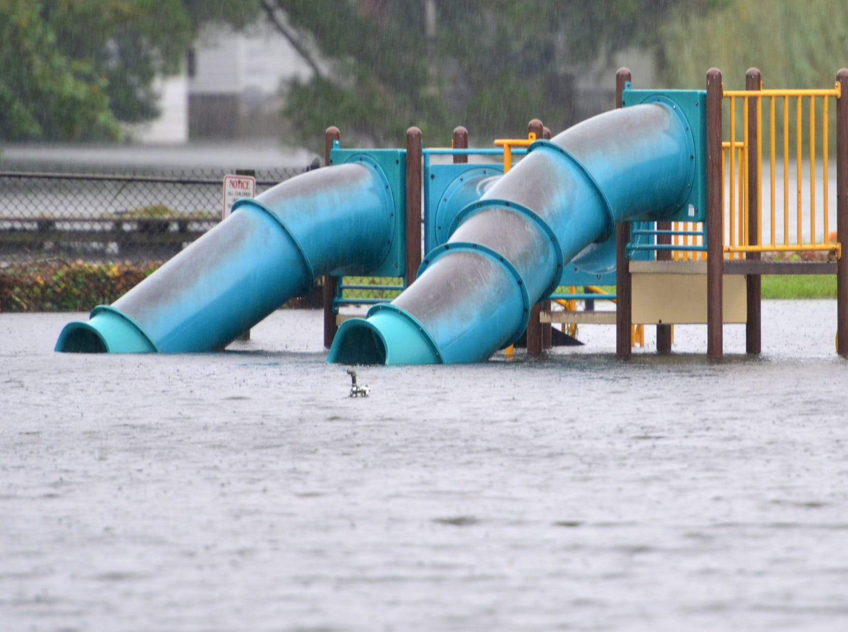 The rains from Hurricane Florence flooded playground on Willow St. in Washington, N.C. on Friday afternoon.