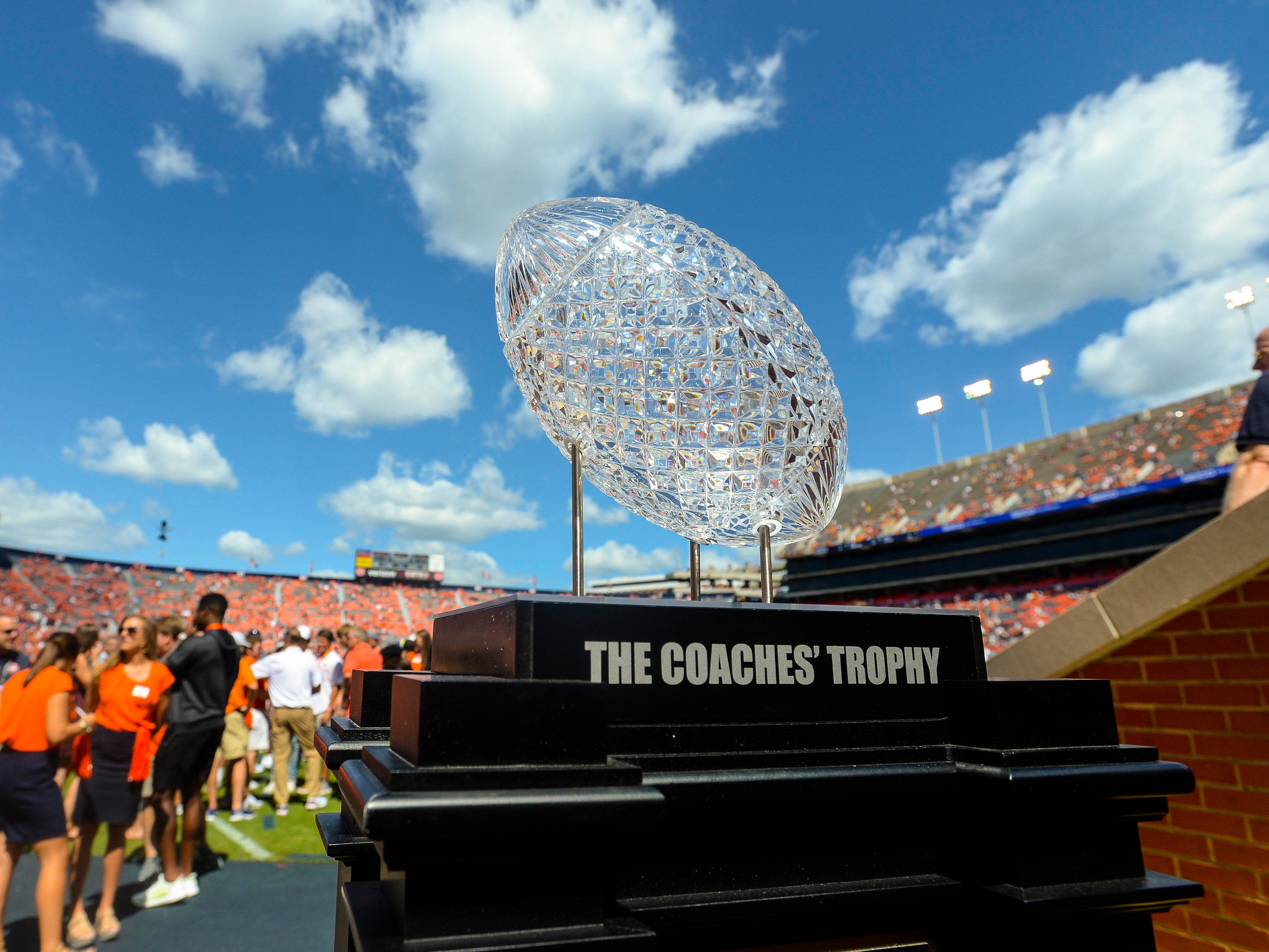 The Amway Coaches Trophy on display before the game between the LSU Tigers and Auburn Tigers at Jordan-Hare Stadium.