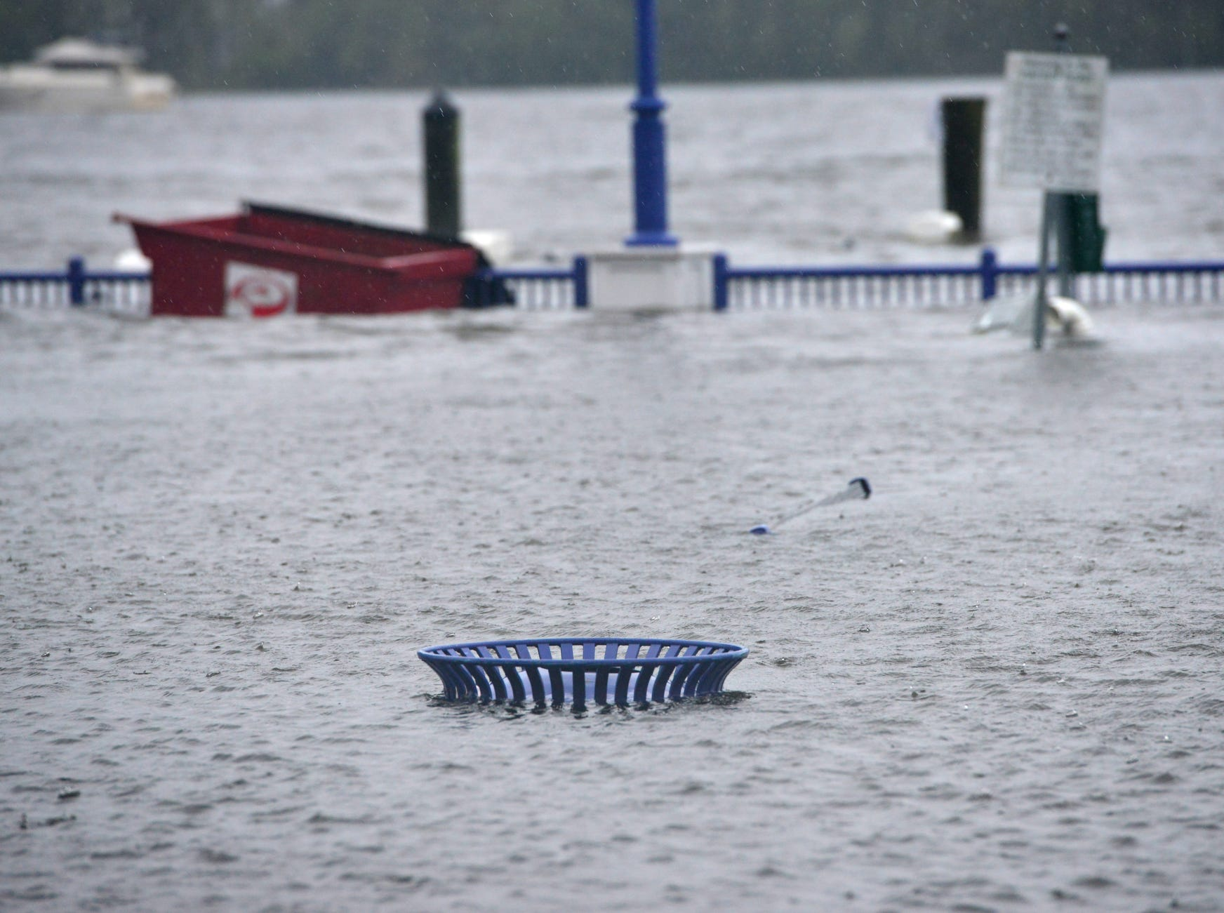 Rains from Hurricane Florence flooded park on the Pamlico River in downtown Washington, N.C.
