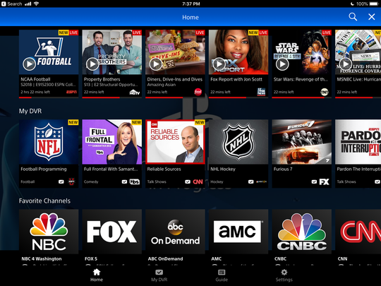 PlayStation Vue shown on a tablet.