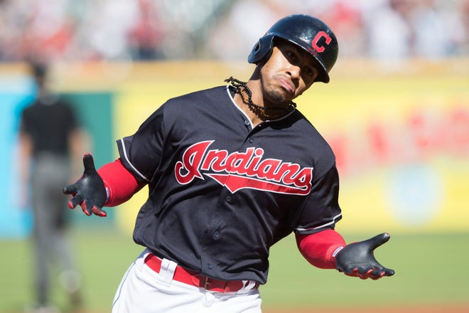 Cleveland Indians shortstop Francisco Lindor (12) rounds the bases after hitting a home run during the first inning against the Detroit Tigers at Progressive Field.