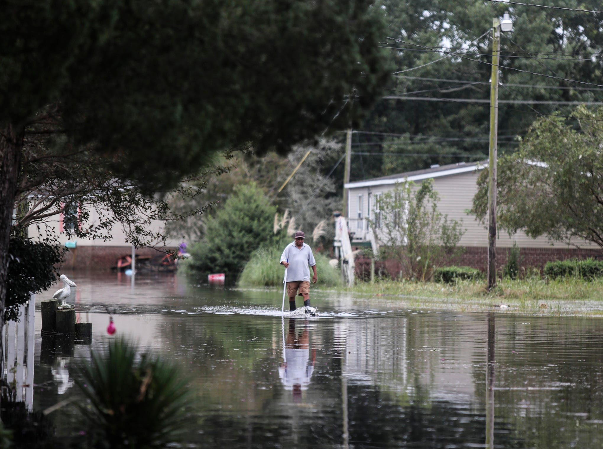 A resident walks down a flooded street in Belhaven, N.C., on Saturday, Sept. 15, 2018.
