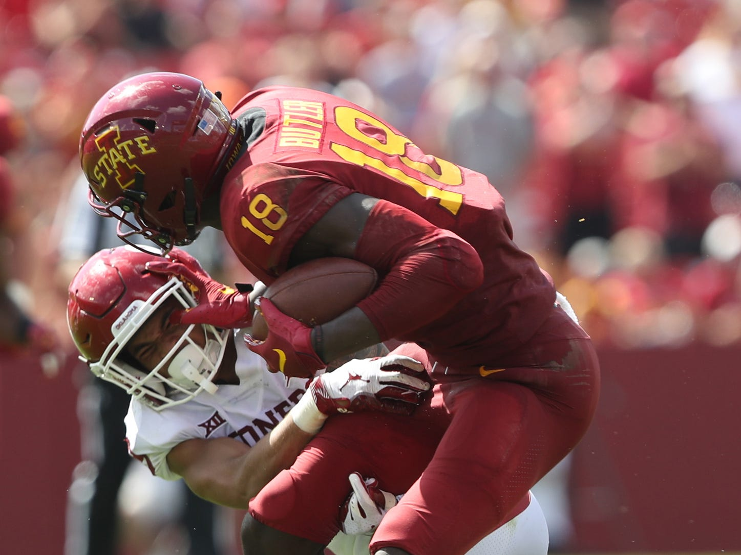 Iowa State Cyclones wide receiver Hakeem Butler (18) catches a touchdown pass against the Oklahoma Sooners at Jack Trice Stadium.