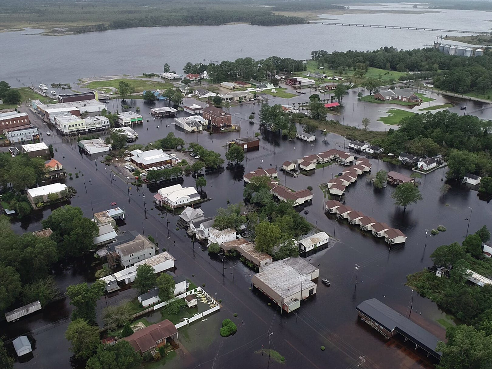 A Drone photo shows flooding in Belhaven, N.C. on Saturday, Sept. 15, 2018. Hurricane Florence made landfall in North Carolina as a Category 1 storm Friday and at least five deaths have been attributed to the storm.