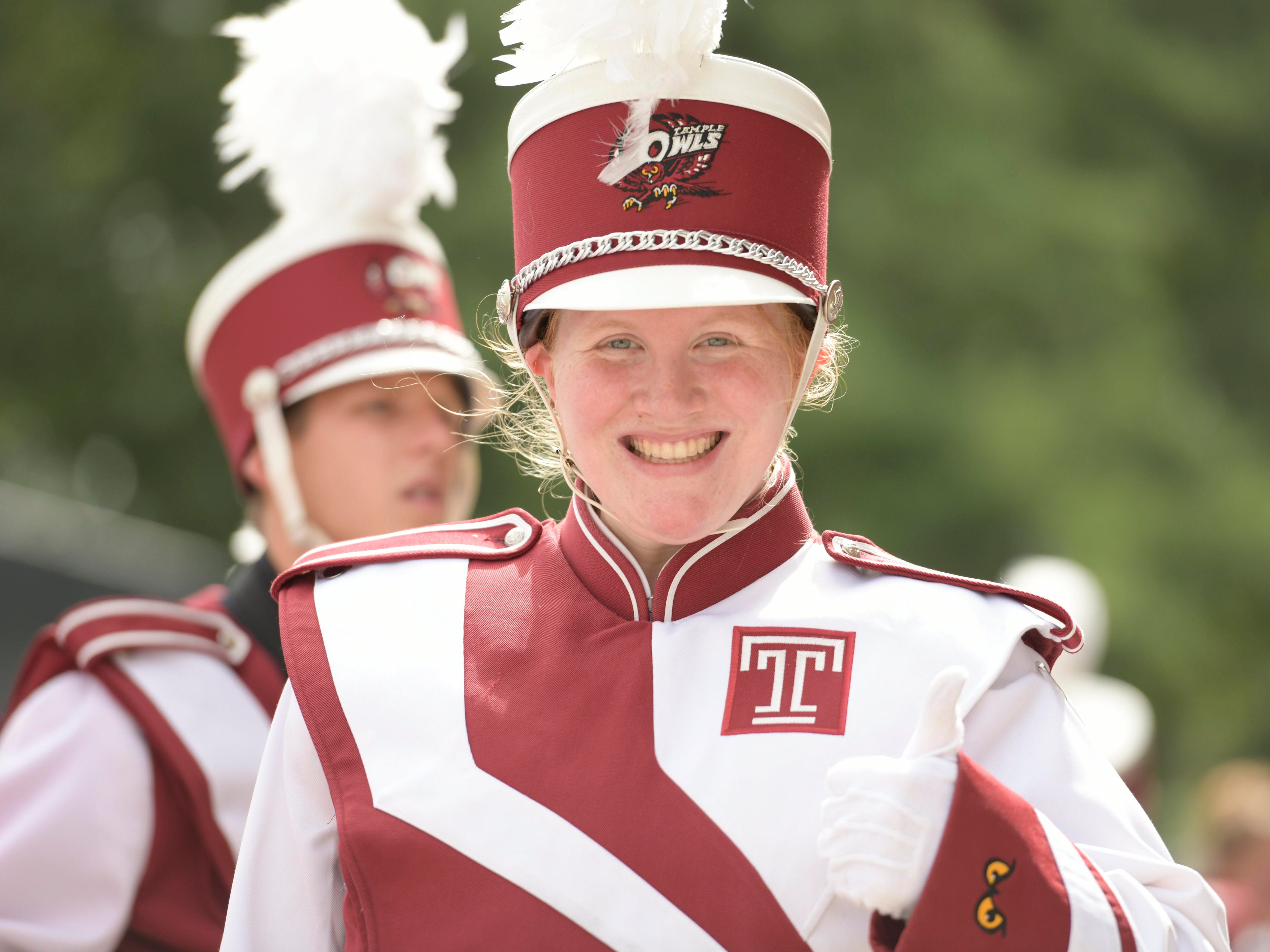 Temples Owl band members prepare to enter the stadium before the game against the Maryland Terrapins.