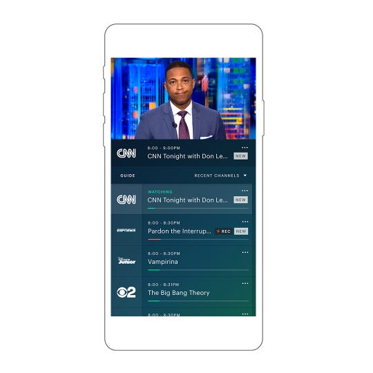 Hulu with Live TV shown on a smartphone.