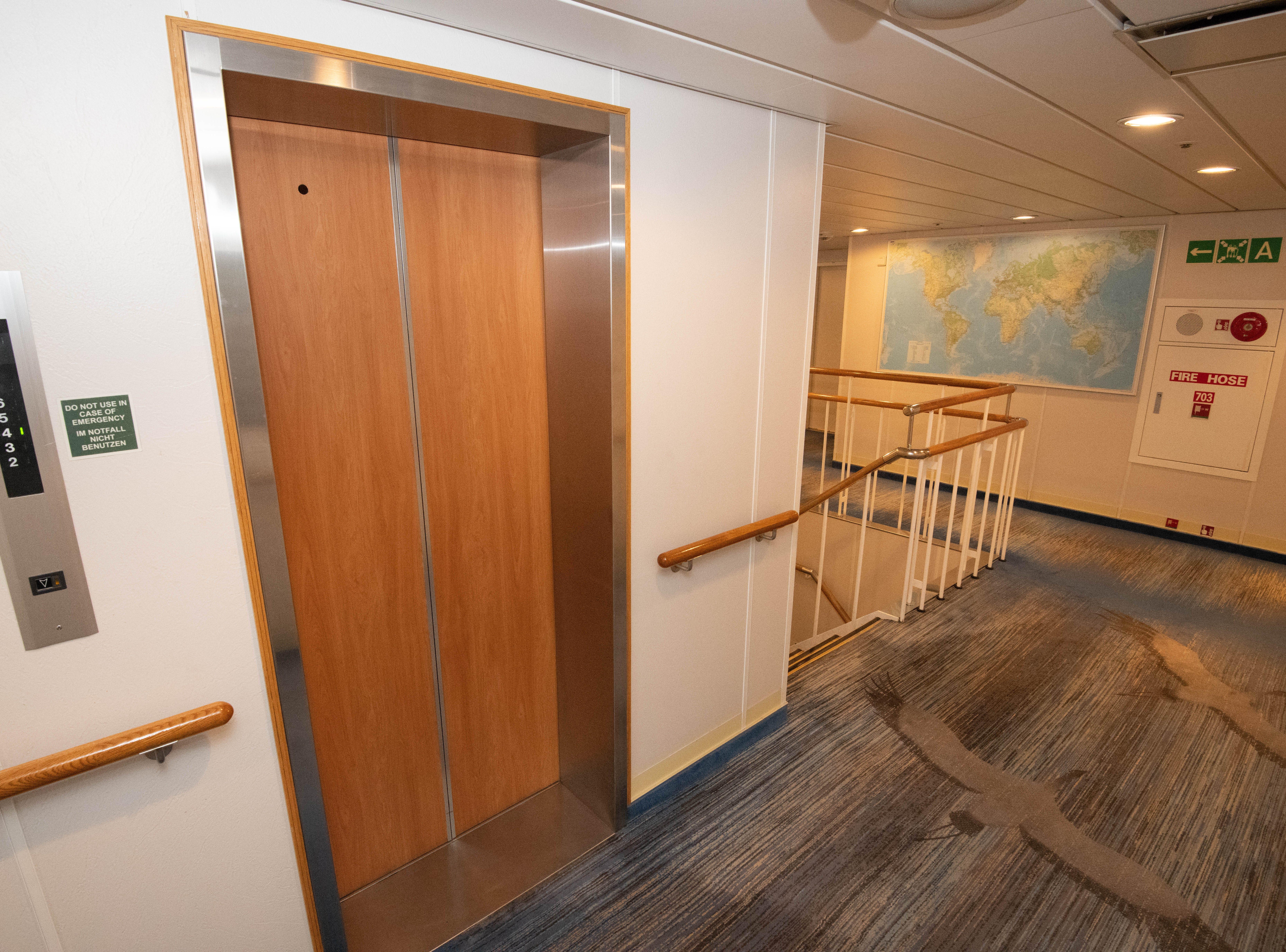 Bremen offers elevators between passenger decks in two locations.