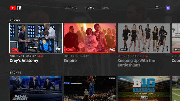 YouTube TV menu shown on a television.