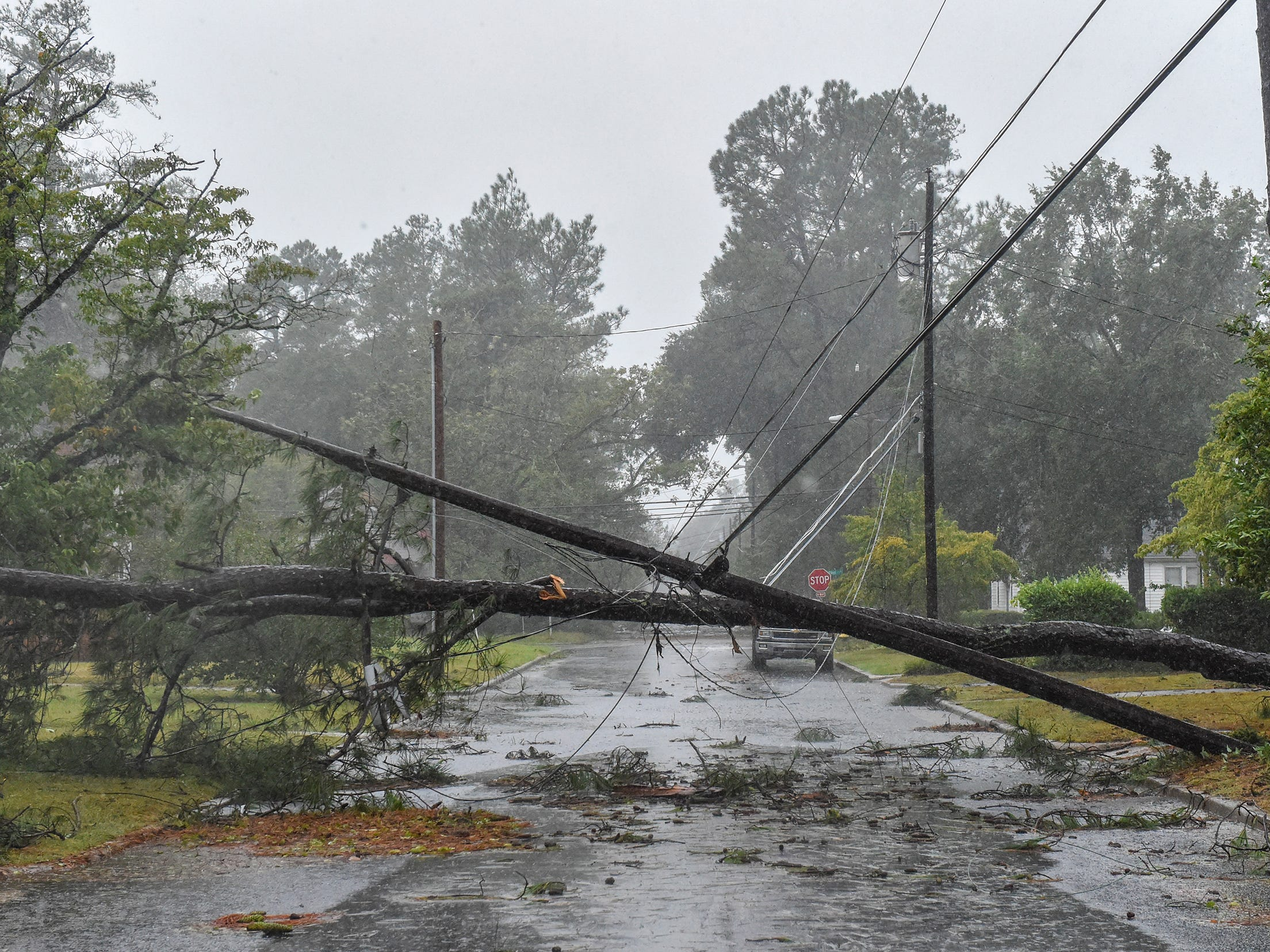 Sep. 15, 2018; Lumberton, NC, USA; Tropical Storm Florence continues to unleash massive amount of rain on Lumberton, North Carolina Saturday causing downed trees and power lines and minor flooding in areas.