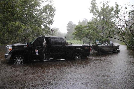 The Cajun Navy resue team patrols flood waters in Lumberton, N.C., on Sept. 15, 2018, in the wake of Hurricane Florence.