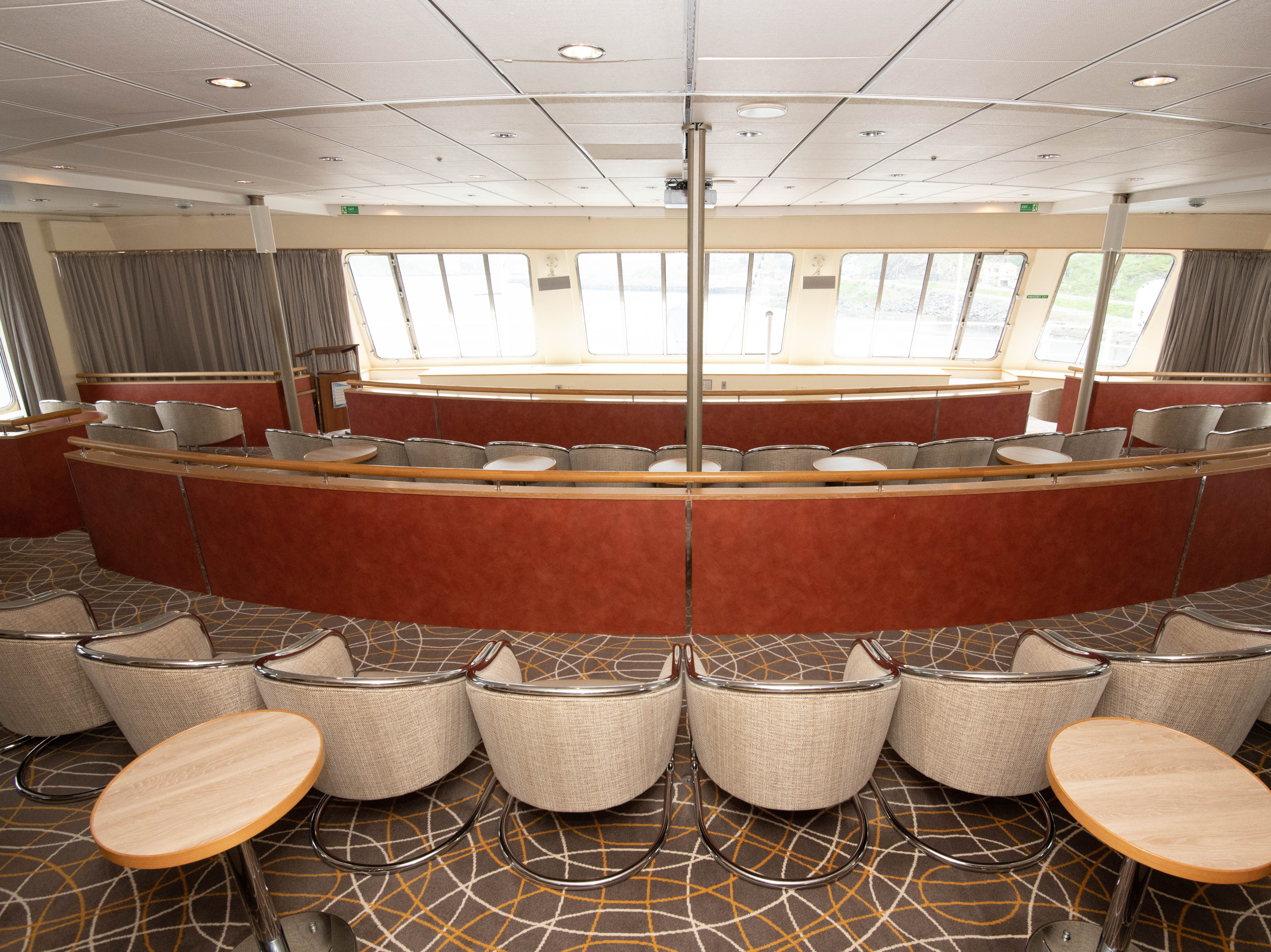 The Panorama Lounge is located at the front of the ship on Deck 7.