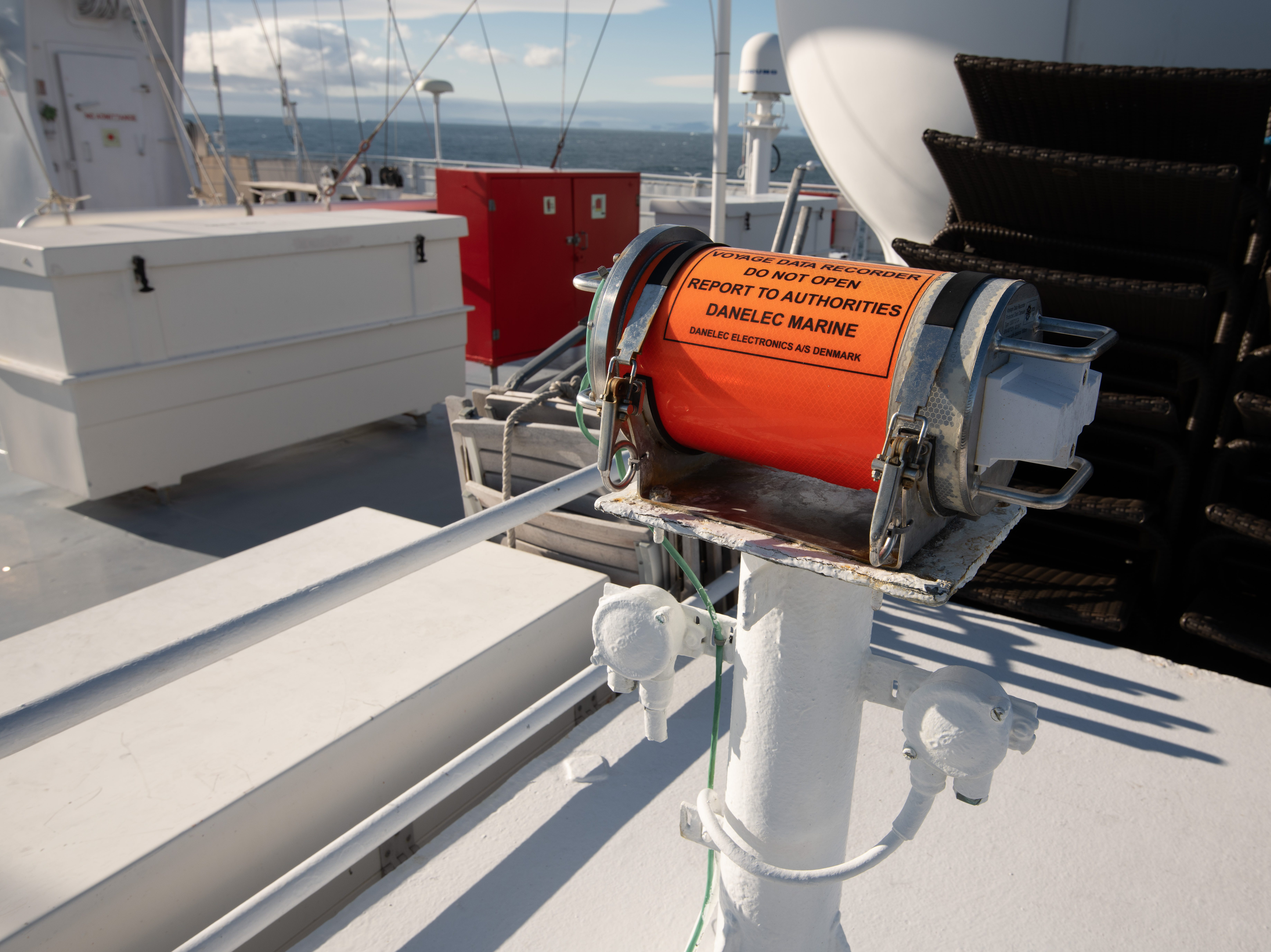 """Bremen's """"black box"""" data recorder, which is actually orange, is located at the top of the vessel on the Helicopter Deck."""