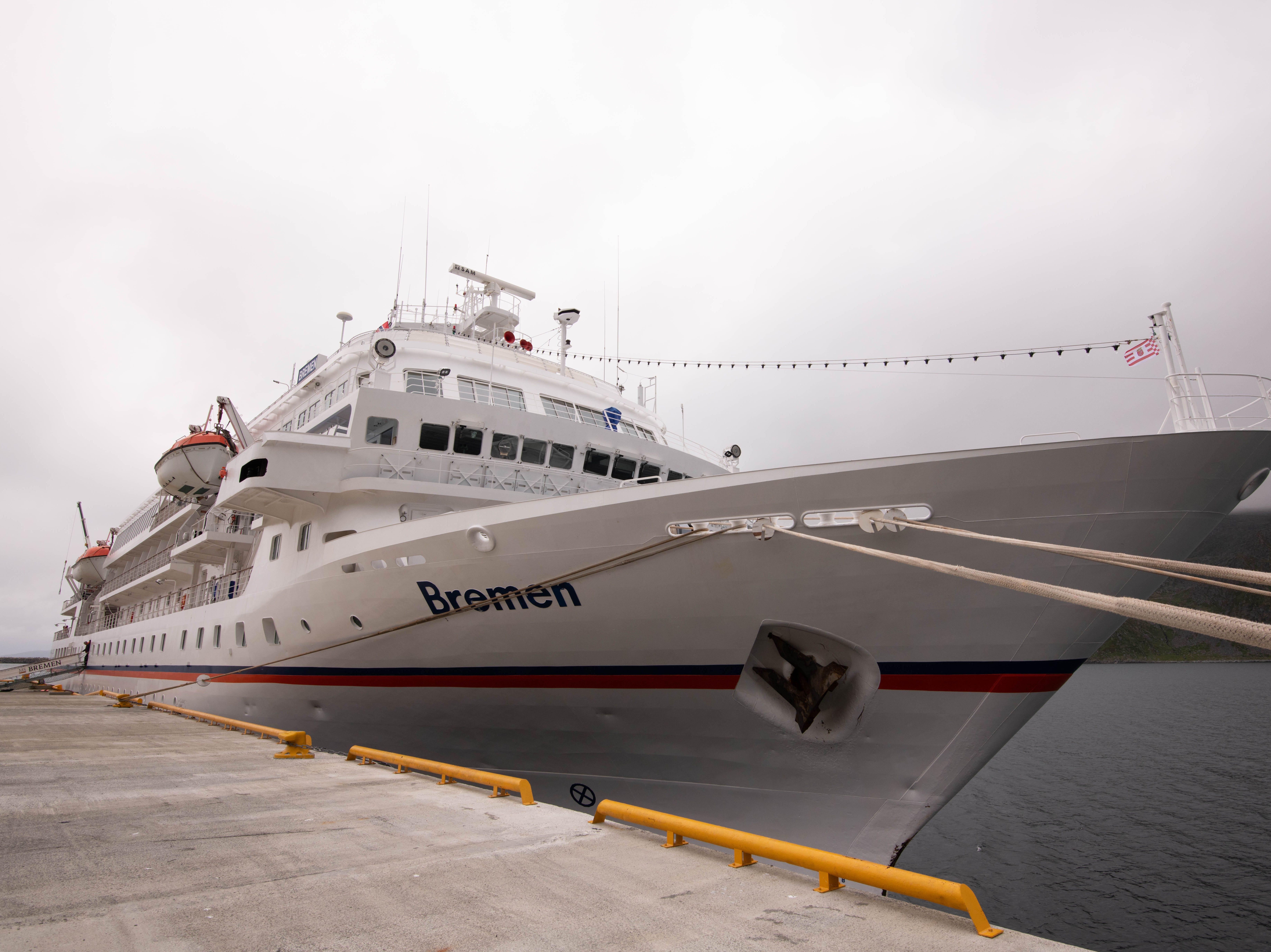Hapag-Lloyd Cruises' Bremen docked at Honningsvag, Norway.