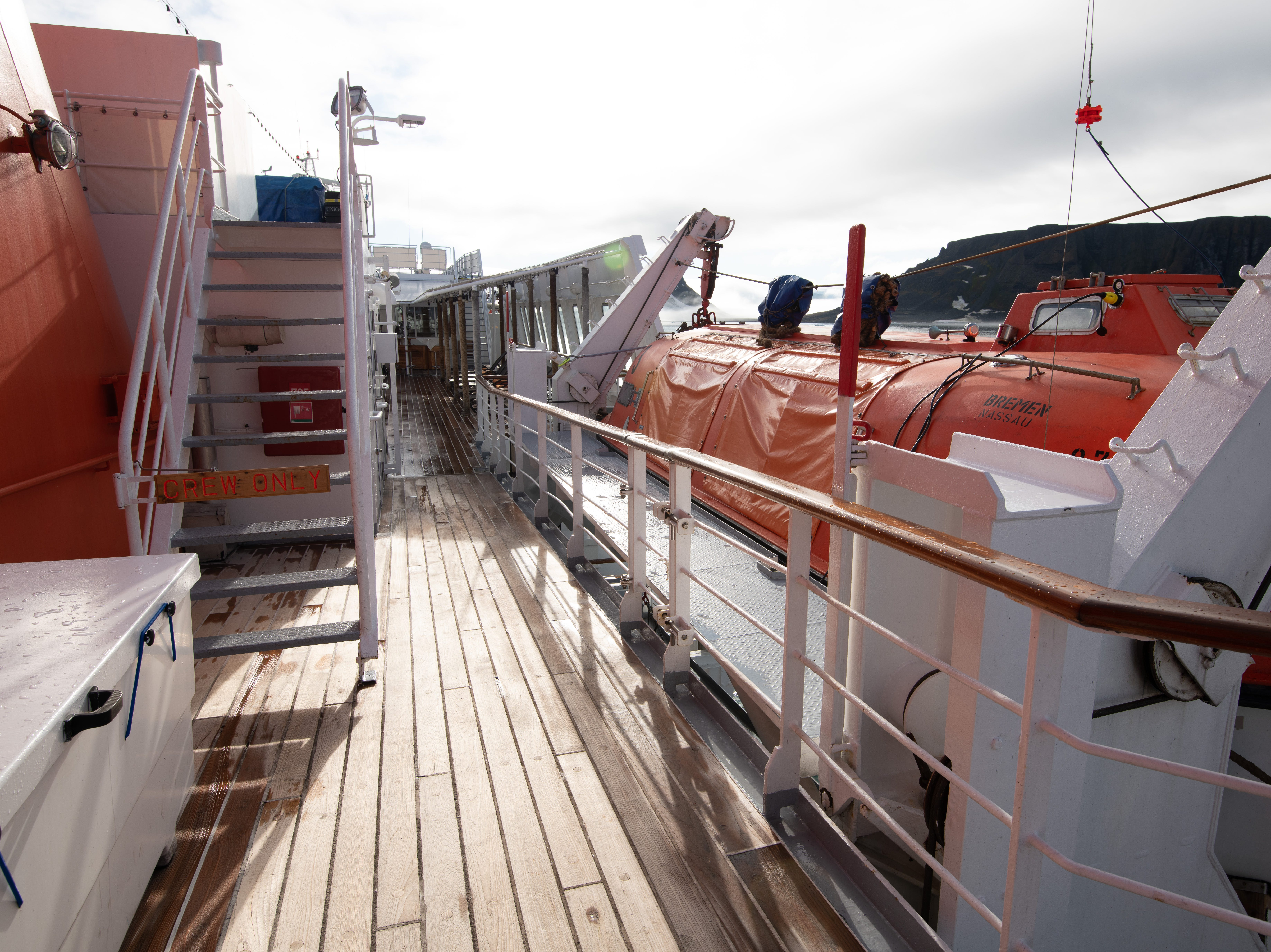 Bremen's lifeboats are located just off Deck 6 but are accessed via Deck 5.