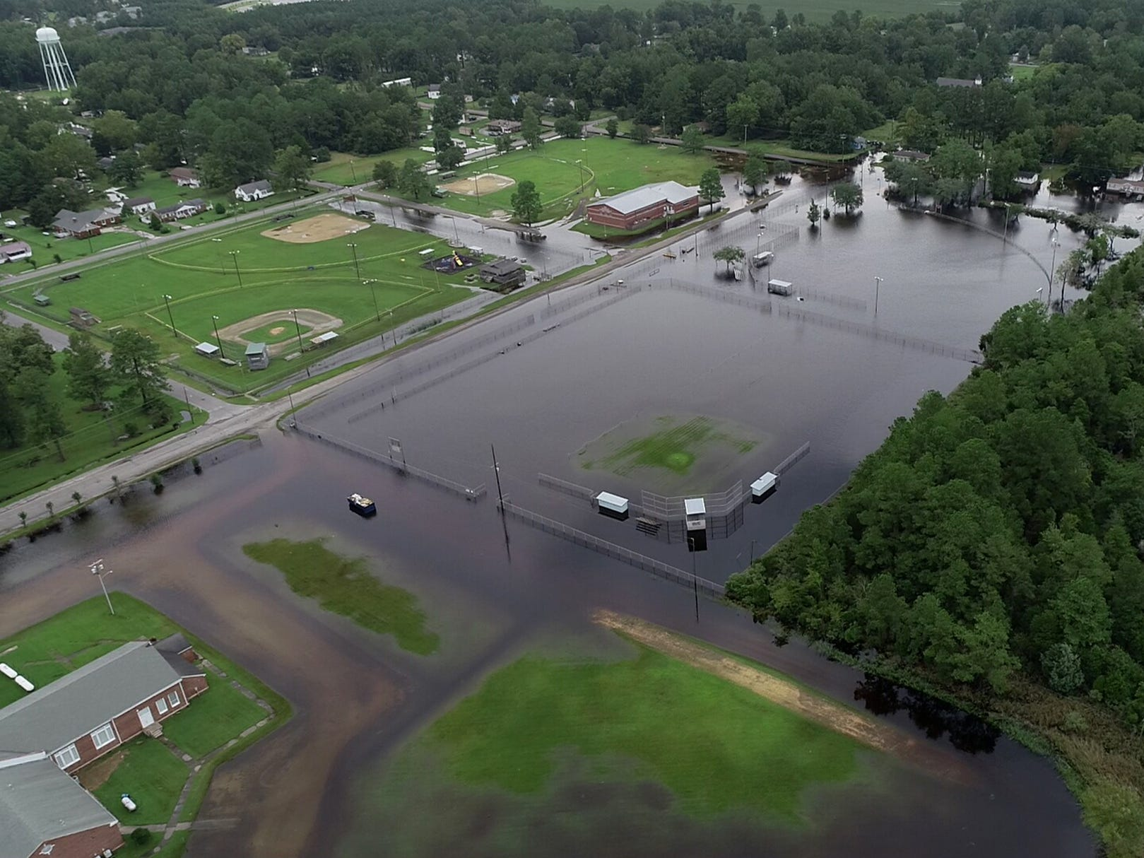 A Drone photo shows flooding in Belhaven, N.C. on Saturday, Sept. 15, 2018.