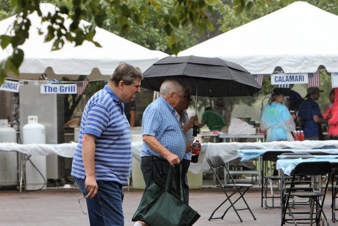 Visitors took umbrellas in and out of the 2018 Greek Festival at the Civic Center of Anderson.