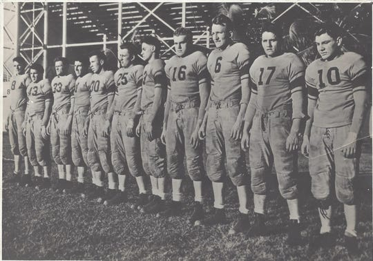 The 1939 Garfield High School football team outside the Orange Bowl in Miami.