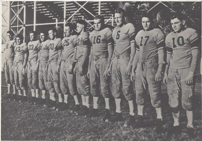 The 1939 Garfield High School football team outside the Orange Bowl in Miami.