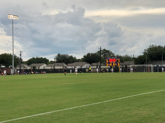 The Hardin-Simmons women's soccer team played under lights for the first time at the HSU Soccer Complex on Saturday, Sept. 15, 2018. The Cowgirls defeated Sul Ross State 3-1.